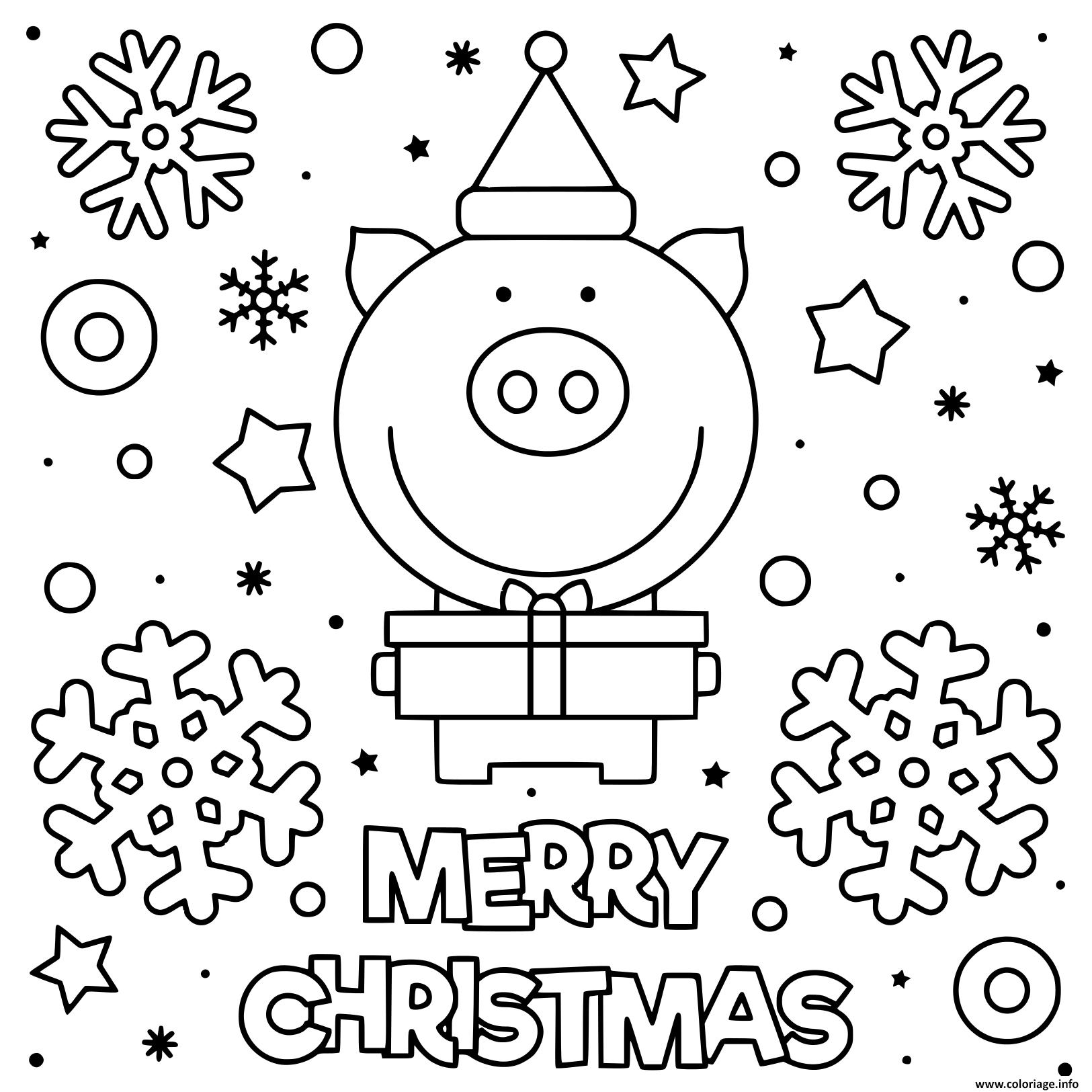 Coloriage Cochon Mignon Qui Souhaite Joyeux Noel Dessin