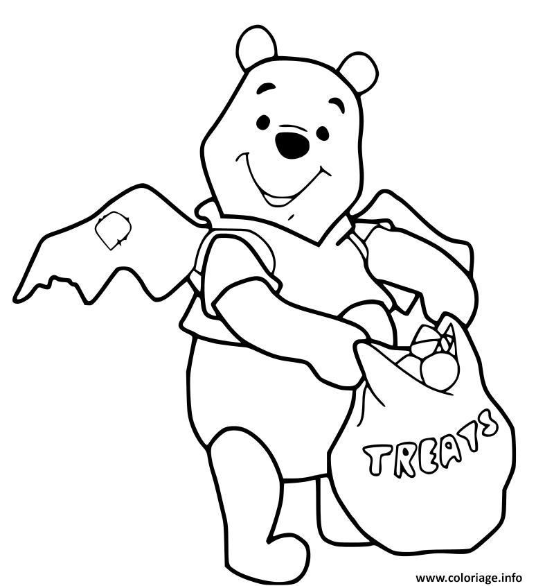 Dessin winnie the pooh halloween recolte des bonbons Coloriage Gratuit à Imprimer