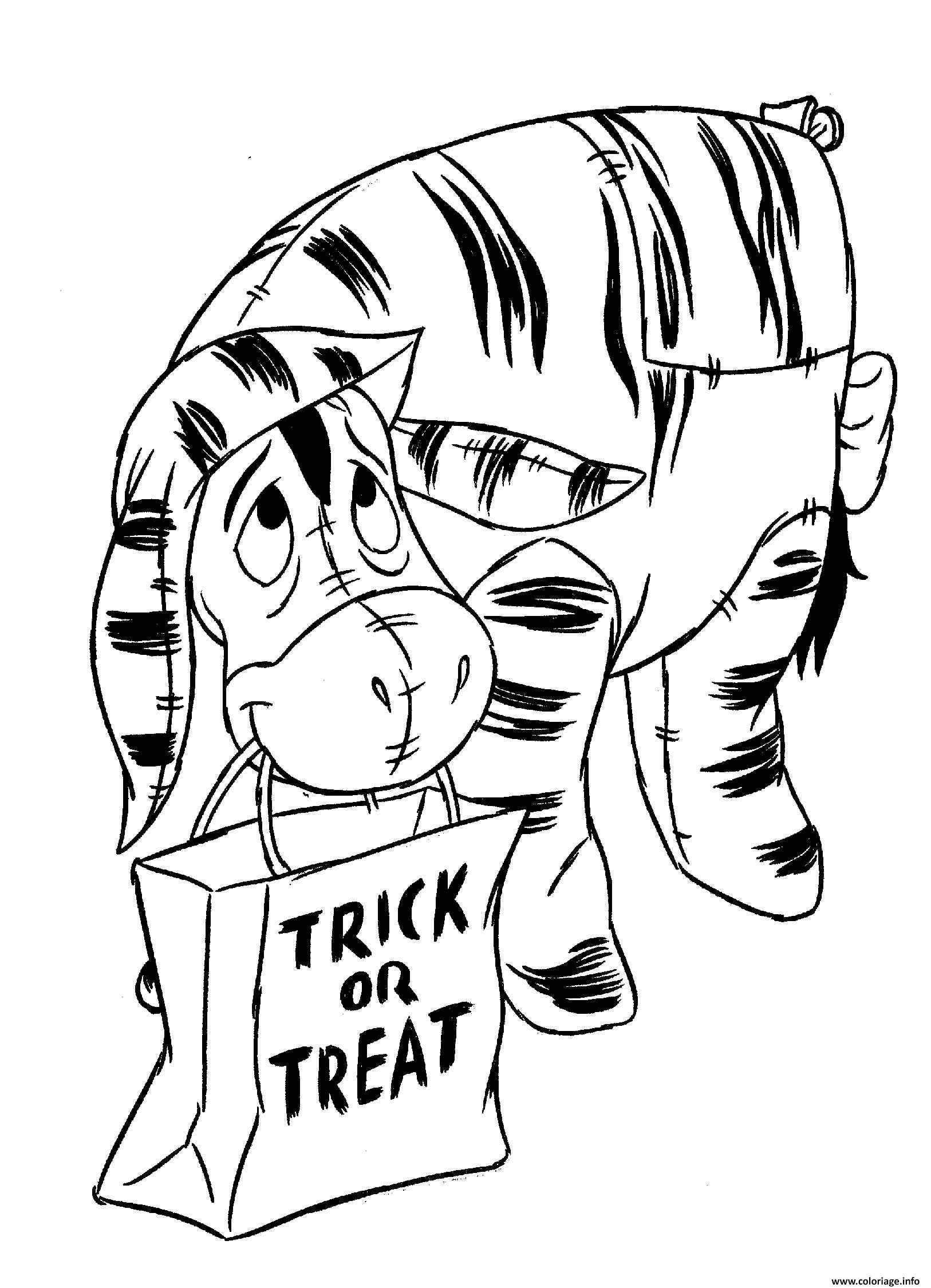 Dessin winnie the pooh halloween trick or treat Coloriage Gratuit à Imprimer