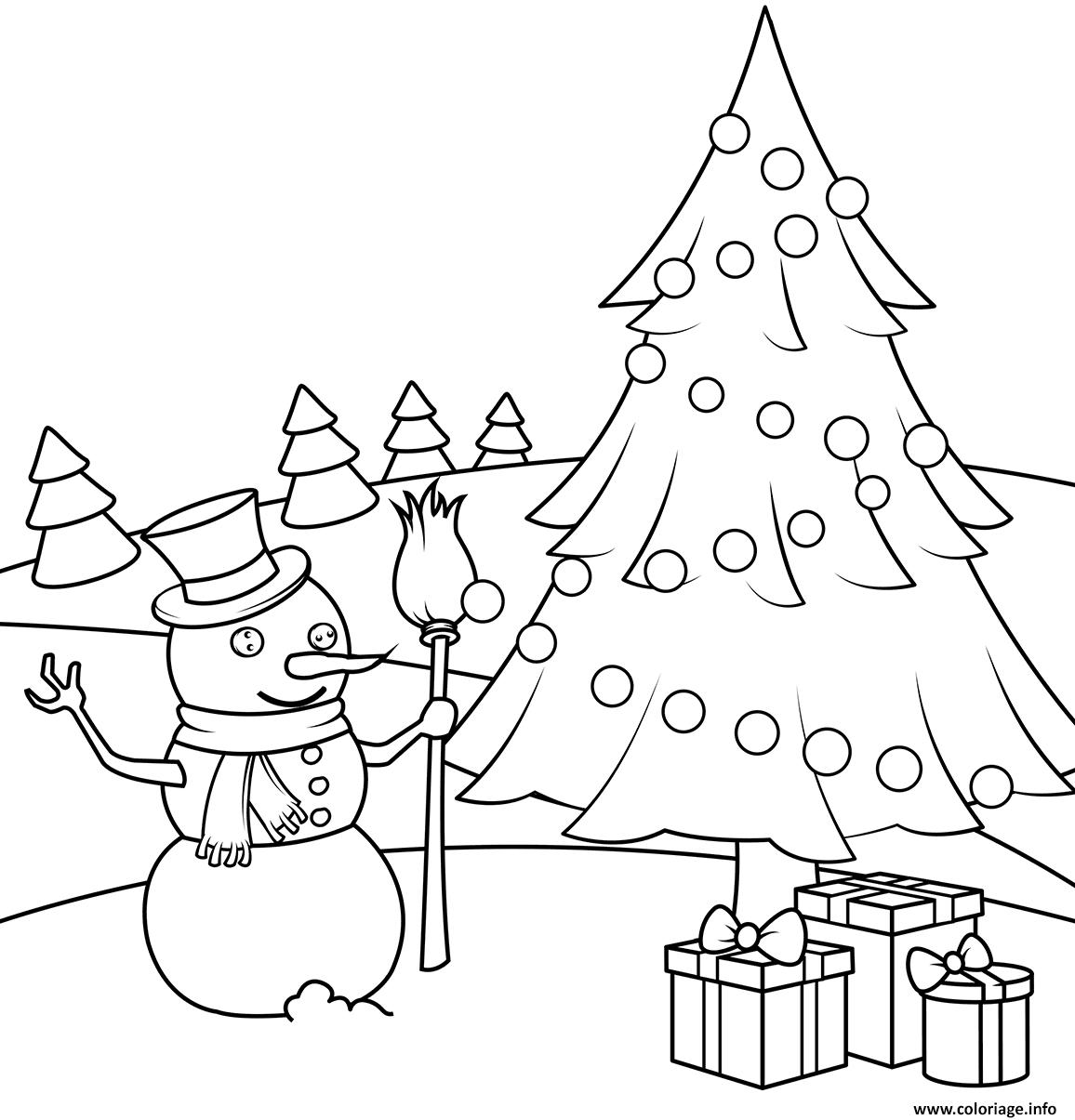 Coloriage Noel A Imprimer Bonhomme De Neige.Coloriage Bonhomme De Neige Avec Un Sapin Et Des Cadeaux De