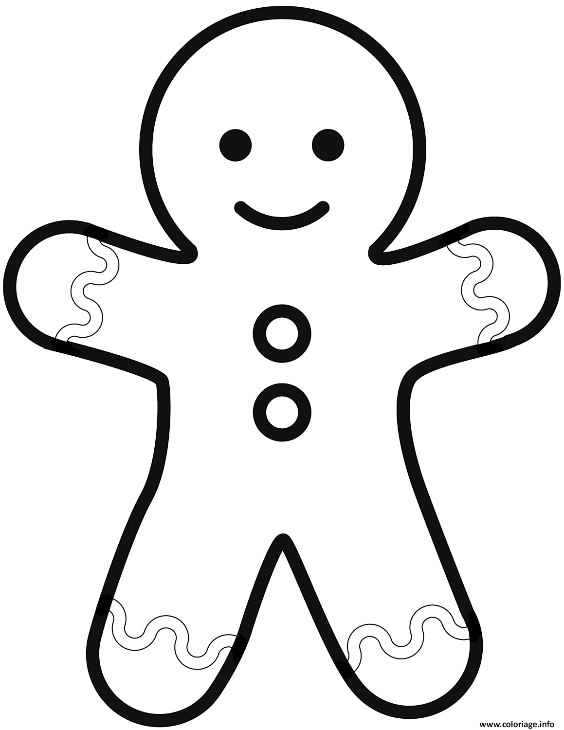 Coloriage Simple Gingerbread Man Dessin à Imprimer