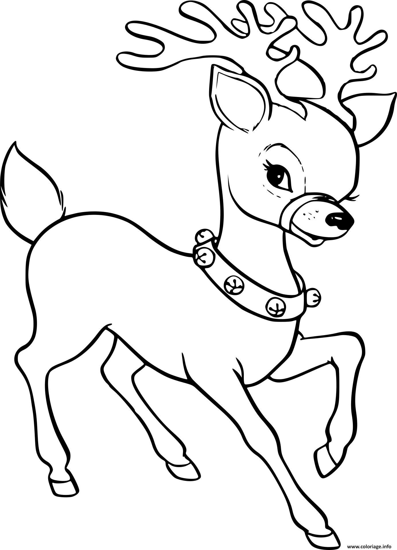 Coloriage Renne De Noel Femelle Dessin Renne De Noel A Imprimer