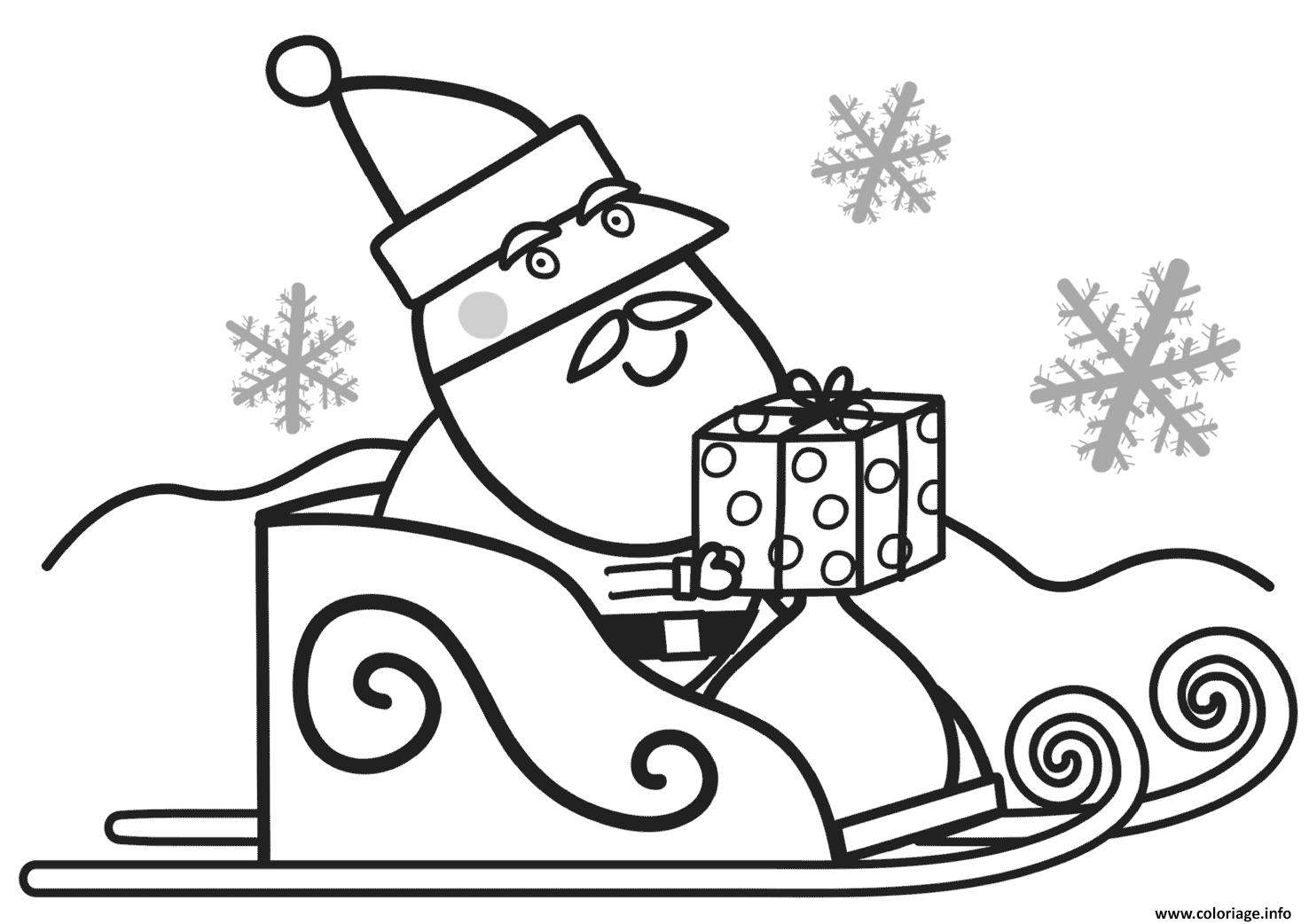 Coloriage Pere Noel Avec Des Cadeaux Pour Peppa Pig Dessin