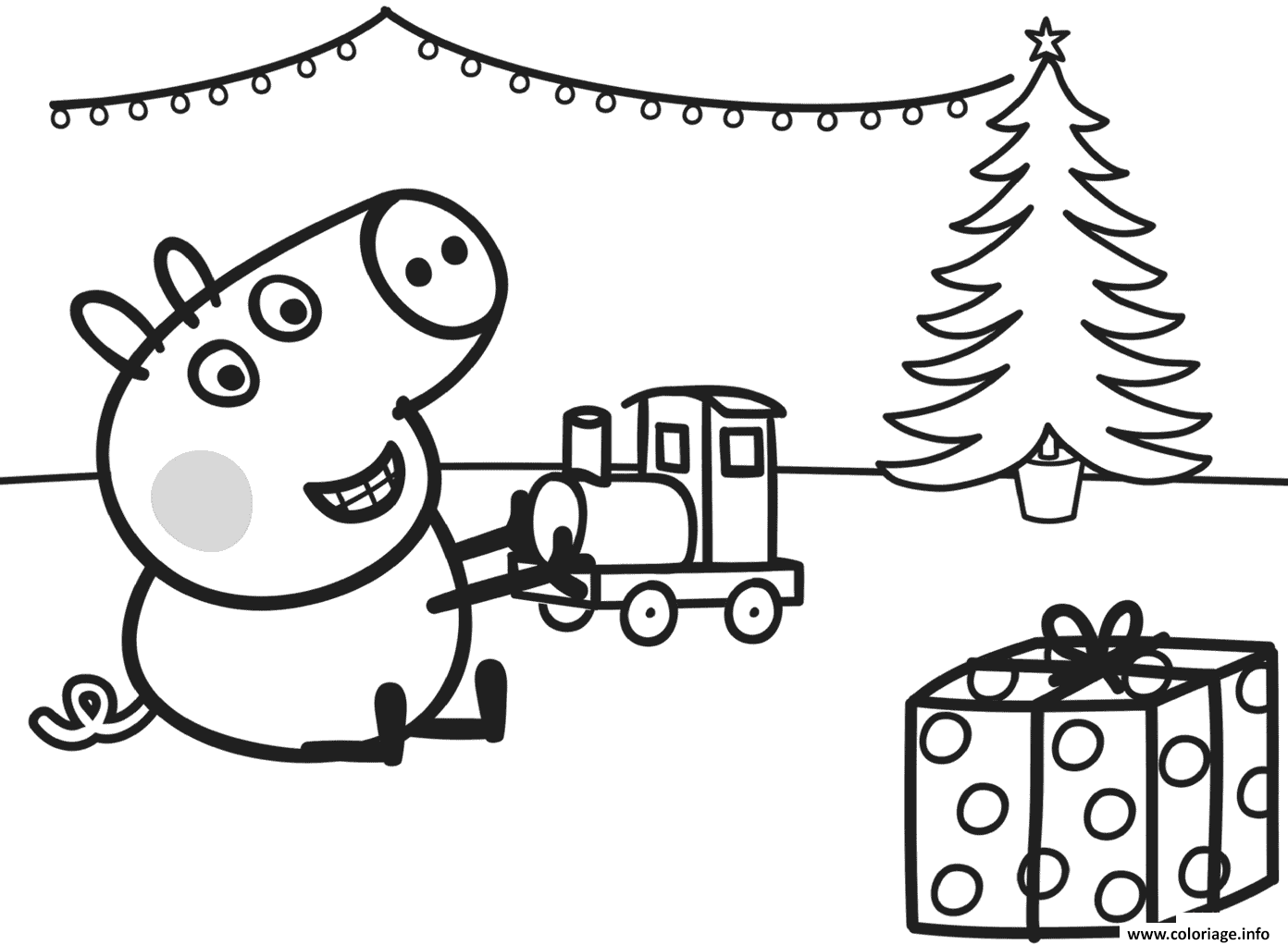 Dessin george joue avec son cadeau de noel un train Coloriage Gratuit à Imprimer