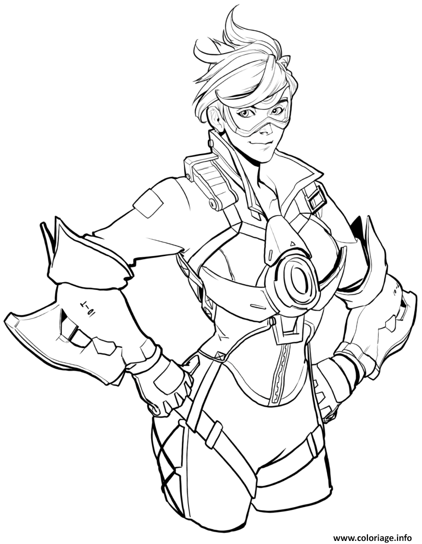 Coloriage Overwatch Tracer Blinkthrough Space Dessin à Imprimer