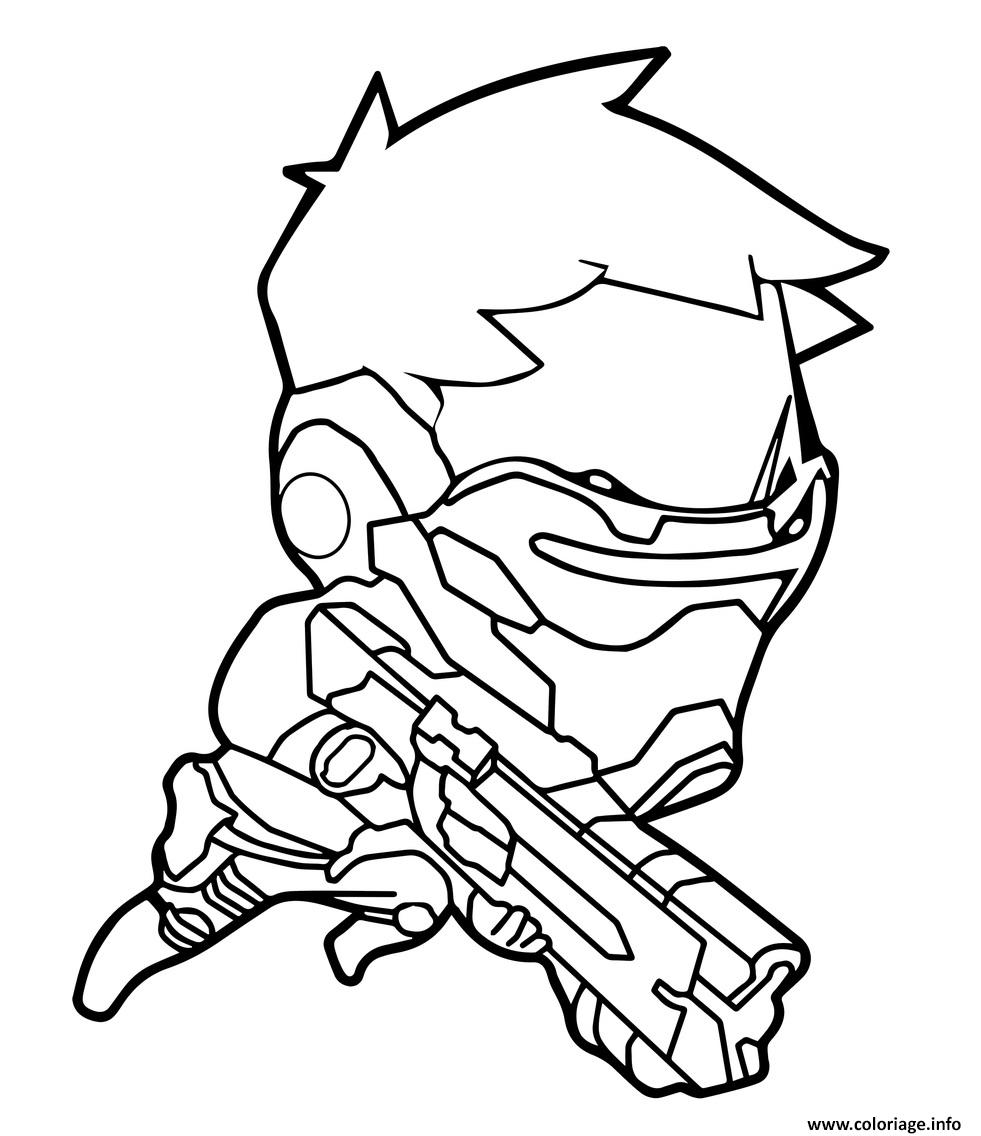 Coloriage Overwatch Soldier 76 Cute Spray Dessin à Imprimer