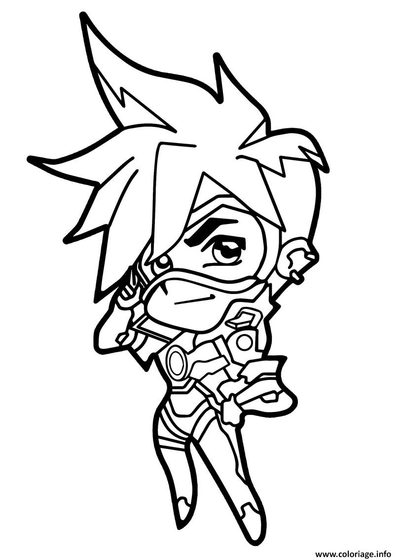 Coloriage Overwatch Tracer Cute Spray Dessin à Imprimer