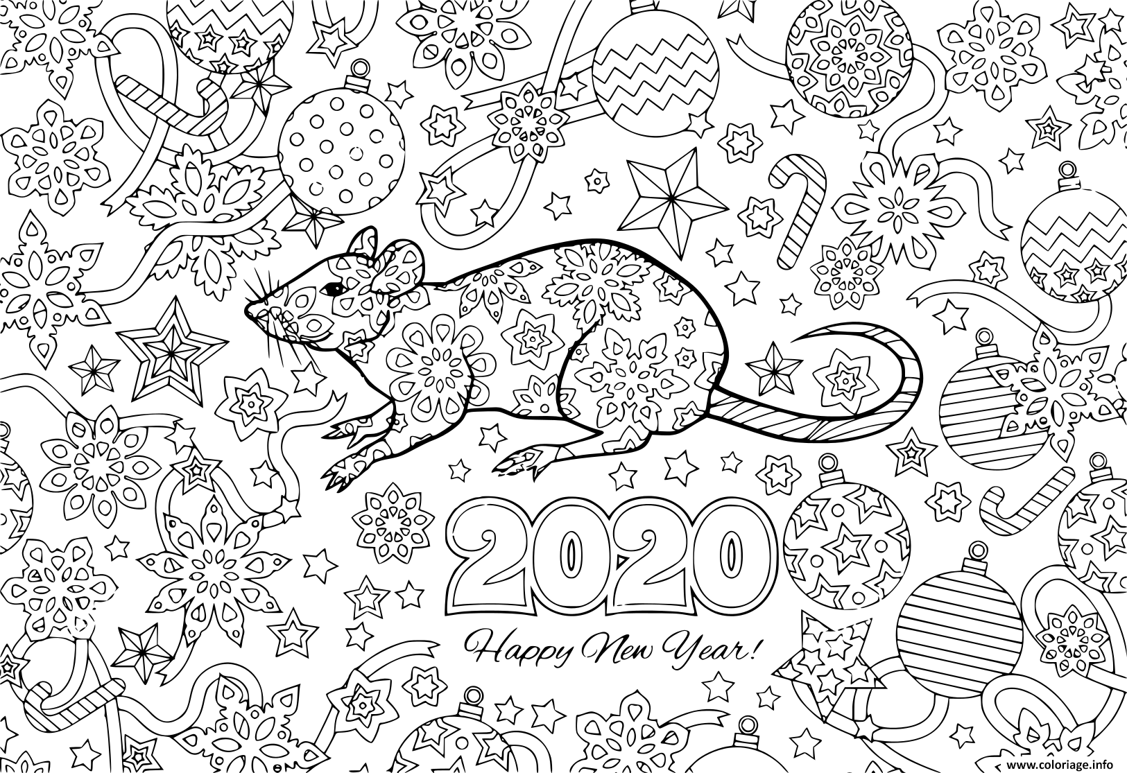 Dessin nouvel an 2020 rat and festive objects image pour calendar Coloriage Gratuit à Imprimer