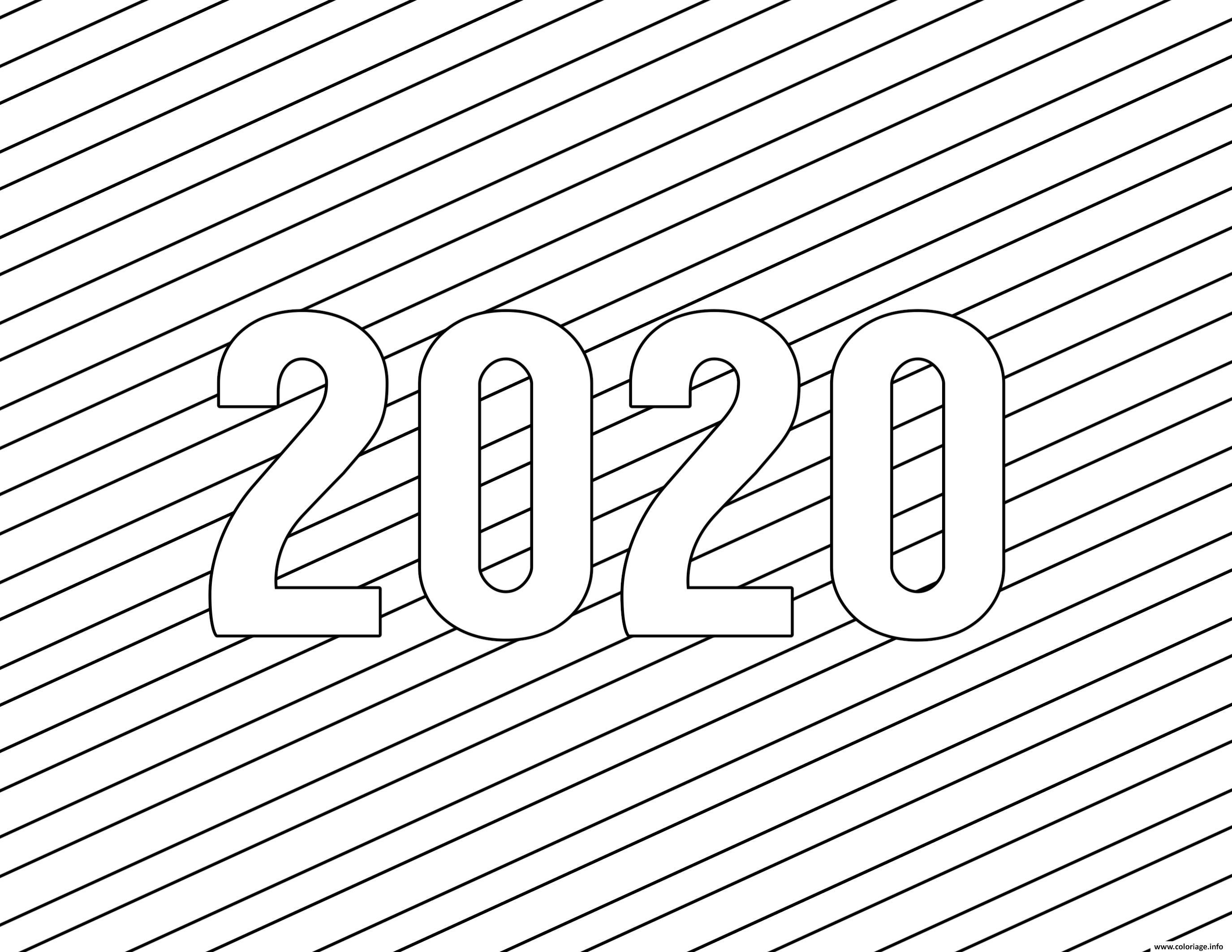Dessin 2020 bonne annee Simple Lines Coloriage Gratuit à Imprimer