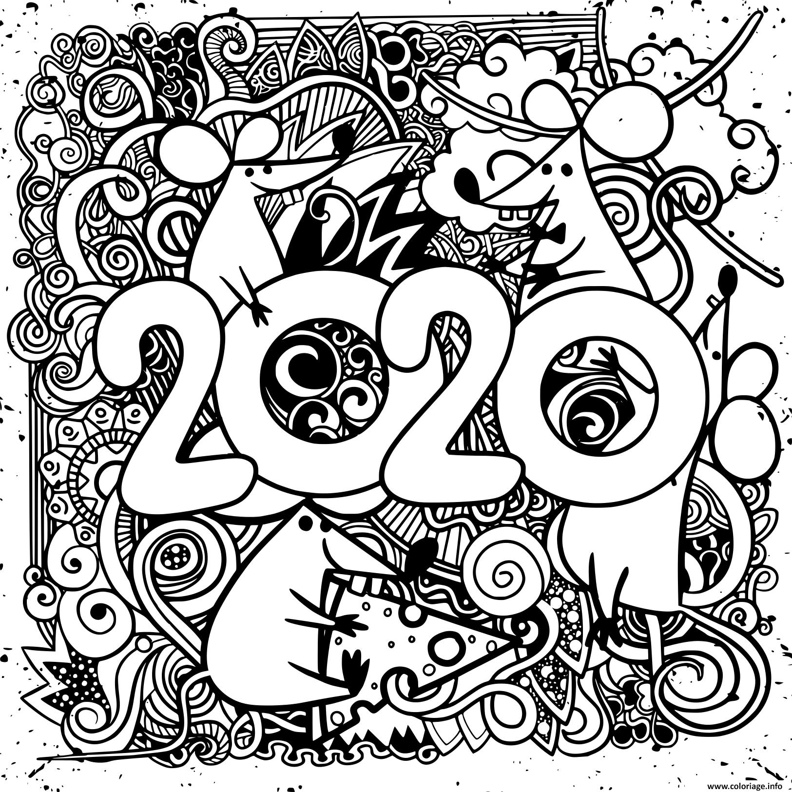 Coloriage bonne annee 2020   JeColorie.com