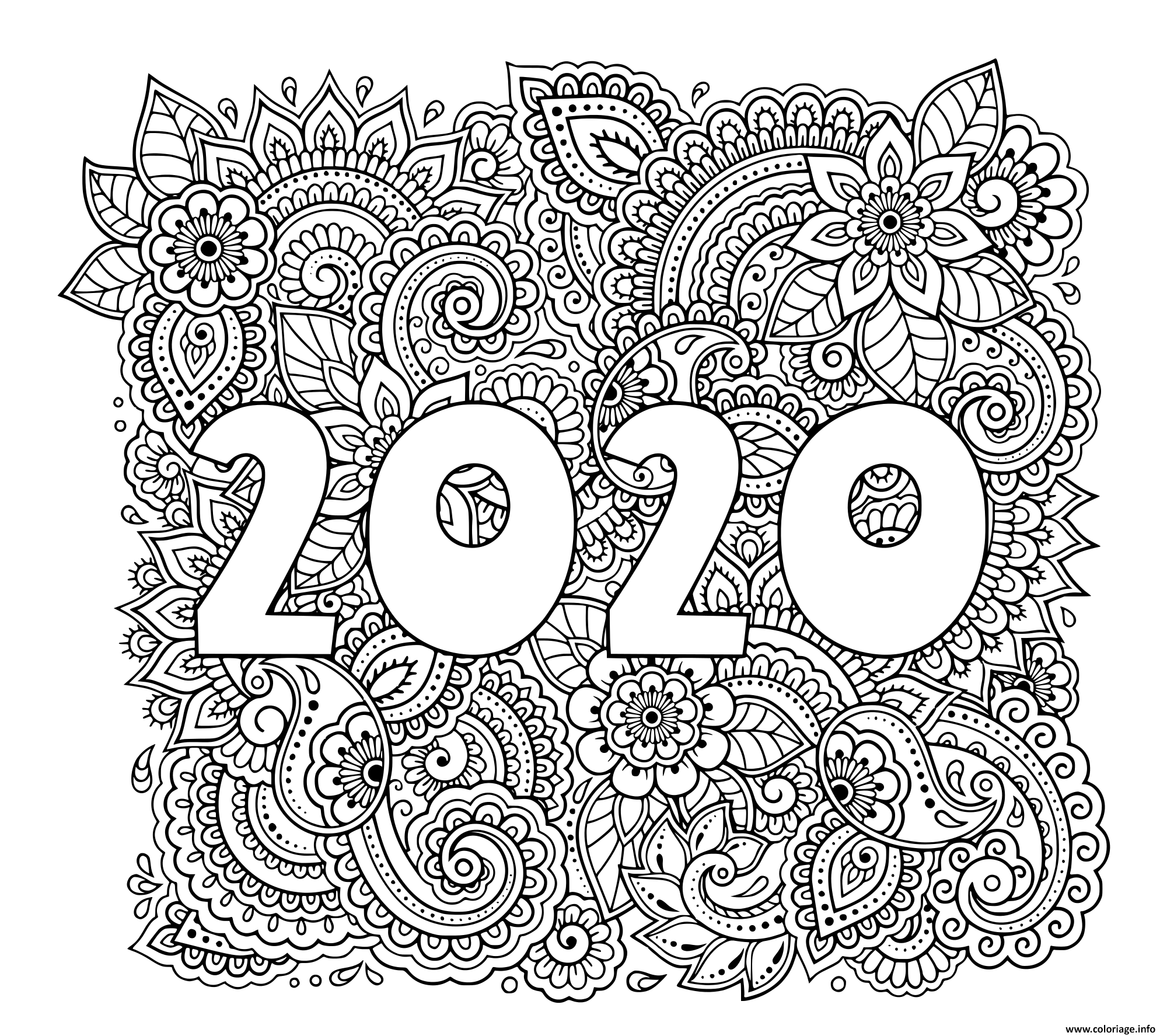 Coloriage nouvel an 2020 highly dandailed decorative ...