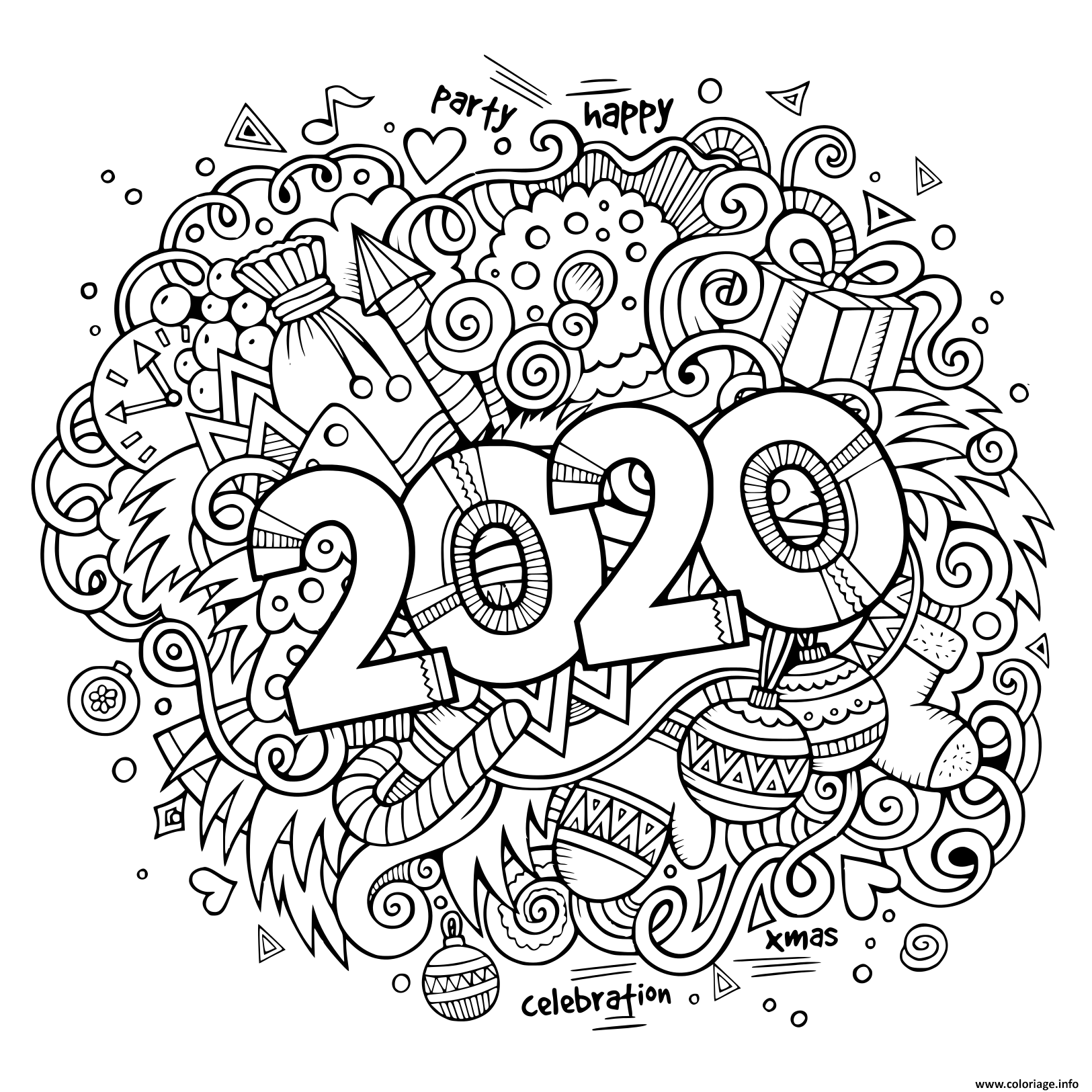 Dessin nouvel an 2020 doodles objects and elements poster design Coloriage Gratuit à Imprimer
