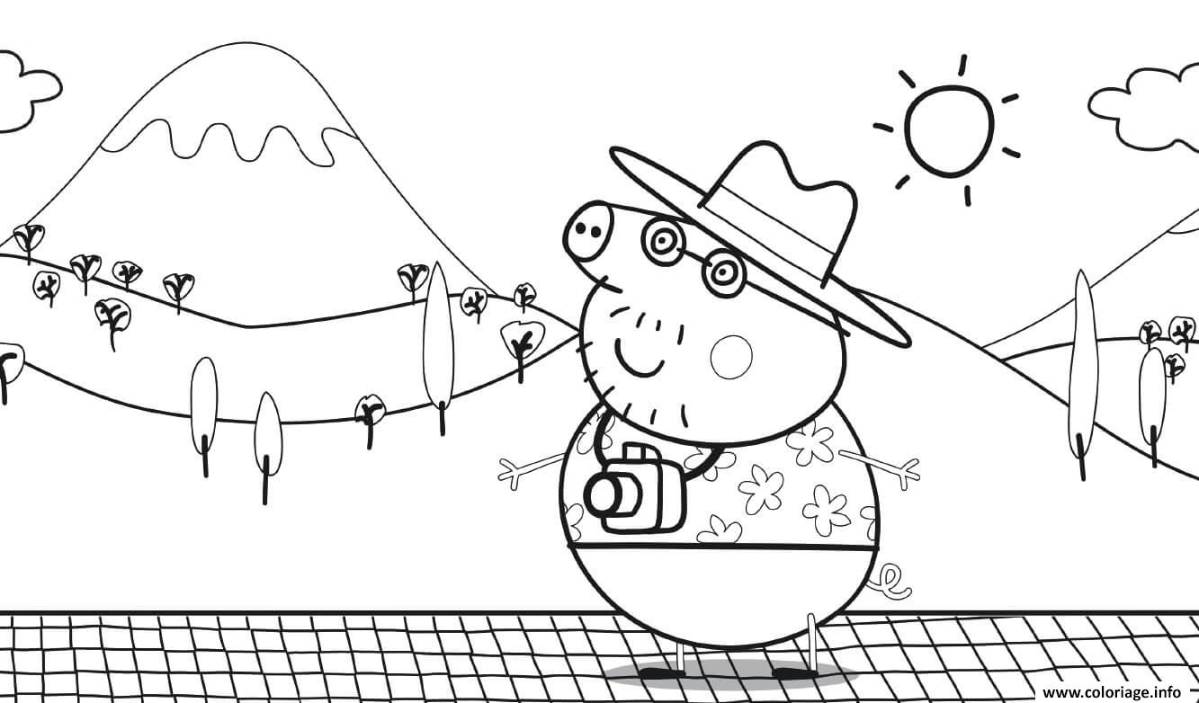 Dessin Family Summer Vacation Daddy Pig Coloriage Gratuit à Imprimer