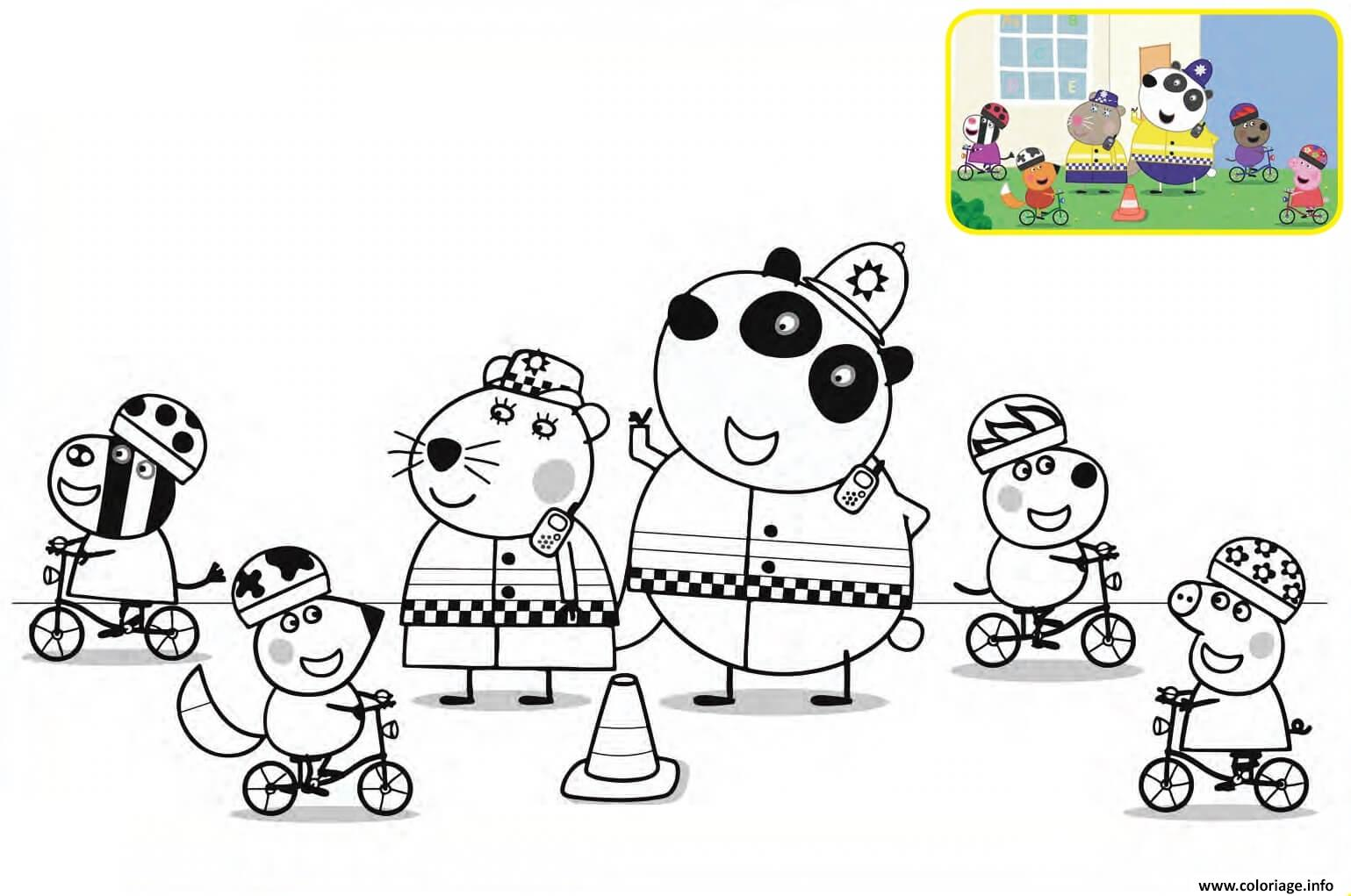 Coloriage Police Peppa Pig Velo Dessin Peppa Pig à imprimer