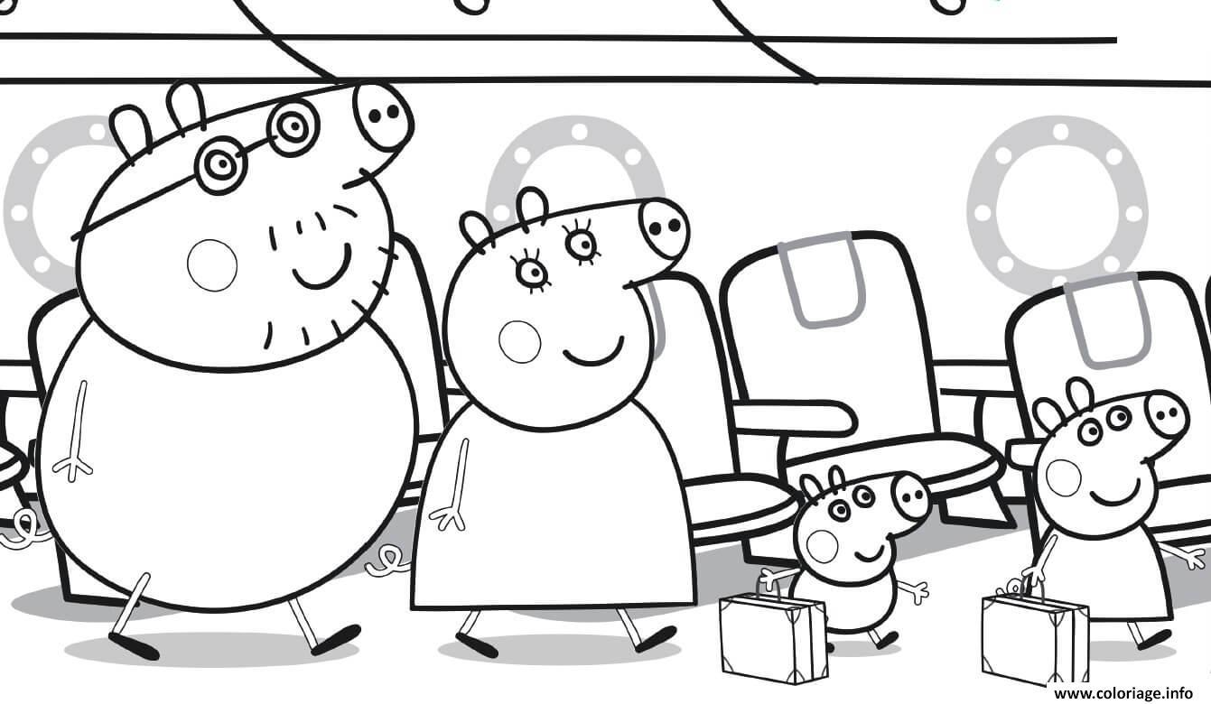 Coloriage Peppa Pig Famille Se Dirigent Vers Leurs Sieges De Lavion Dessin Peppa Pig A Imprimer