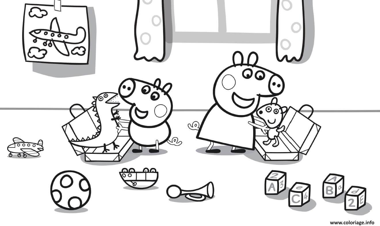 Coloriage Peppa Pig joue avec les jouets enfants ...