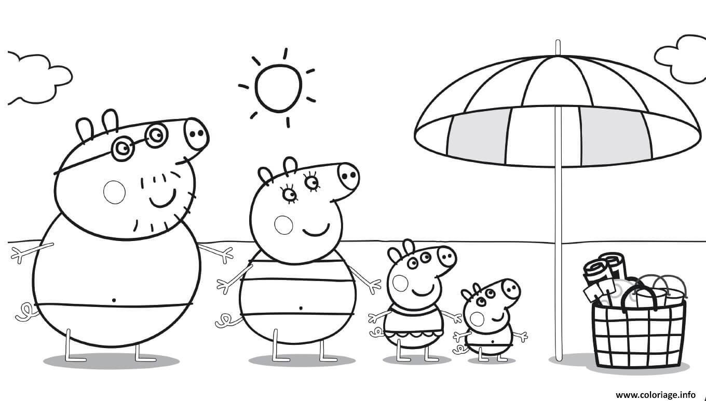 Dessin Peppa Pig sur la plage pour profiter du soleil Coloriage Gratuit à Imprimer