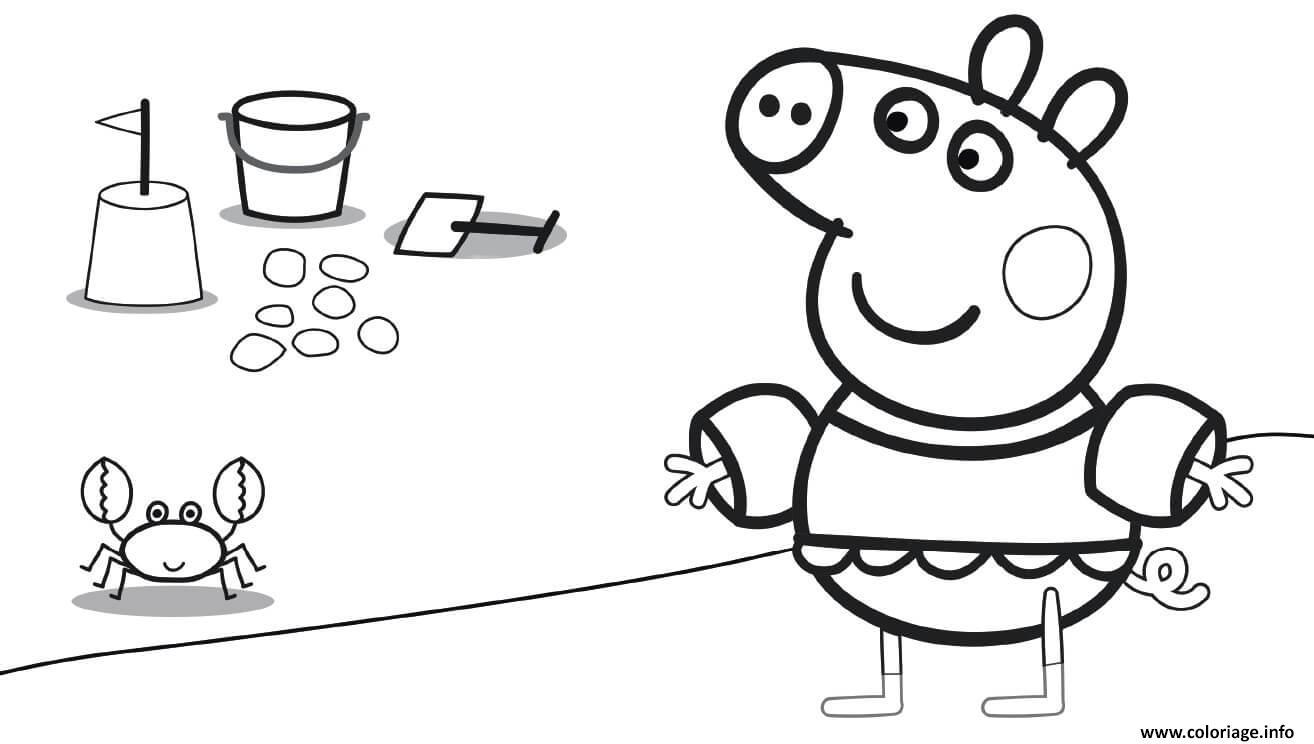Dessin Family Summer Vacation Granny Pig Coloriage Gratuit à Imprimer