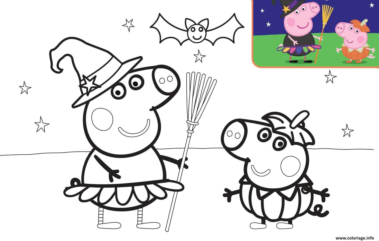 Dessin Halloween George Pig et son fils Coloriage Gratuit à Imprimer
