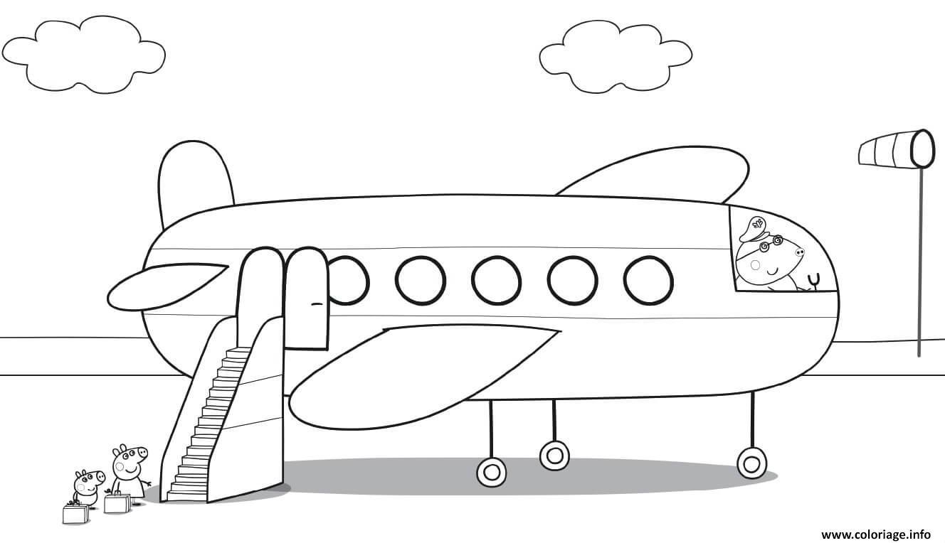 Coloriage La famille Peppa Pig en avion - JeColorie.com