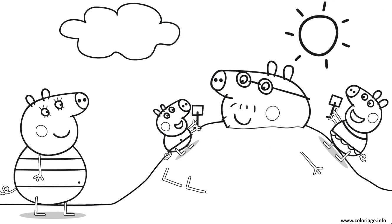 Dessin La famille Peppa Pig en vacance Coloriage Gratuit à Imprimer