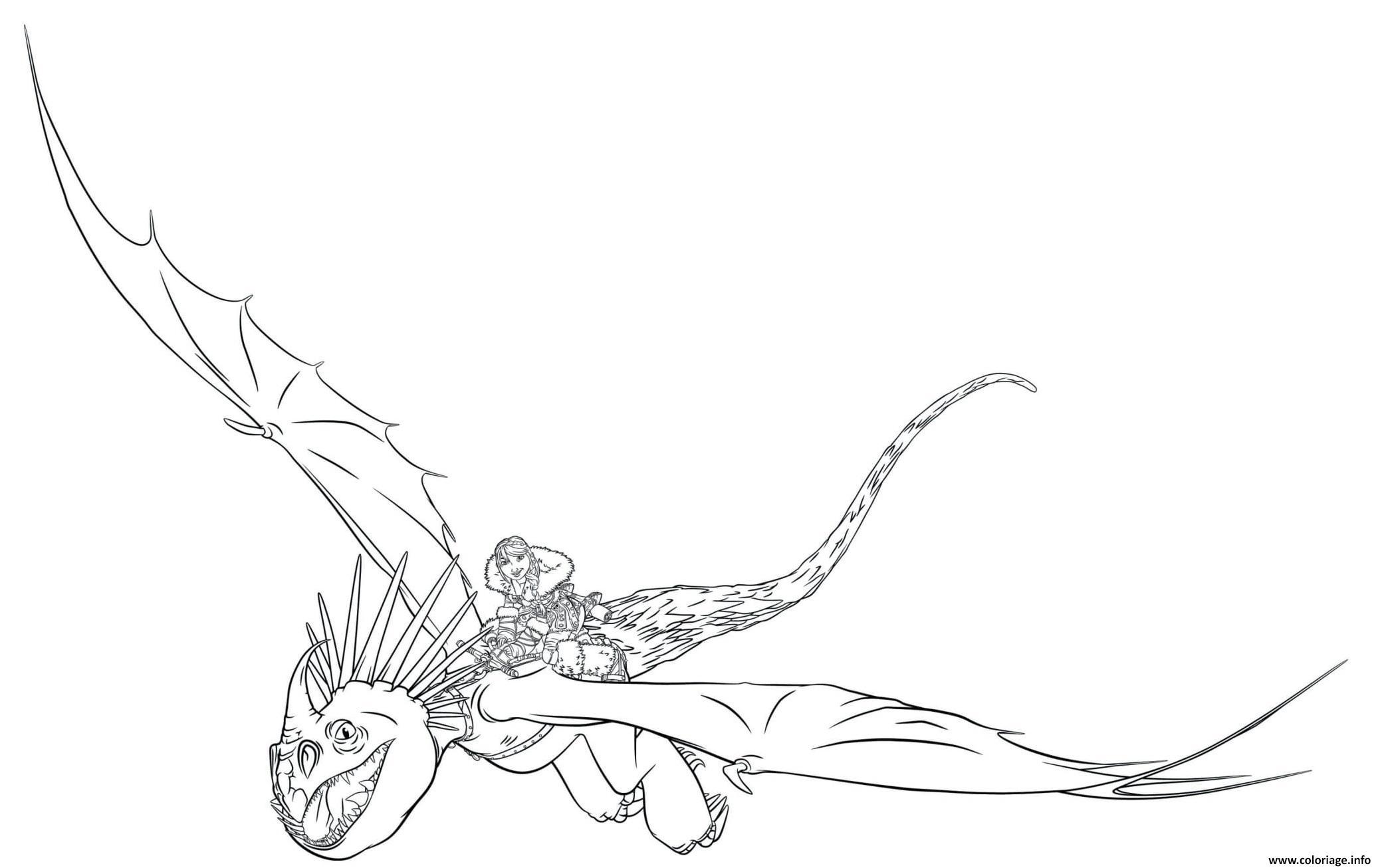 Dessin astrid stormfly train dragon 3 Coloriage Gratuit à Imprimer