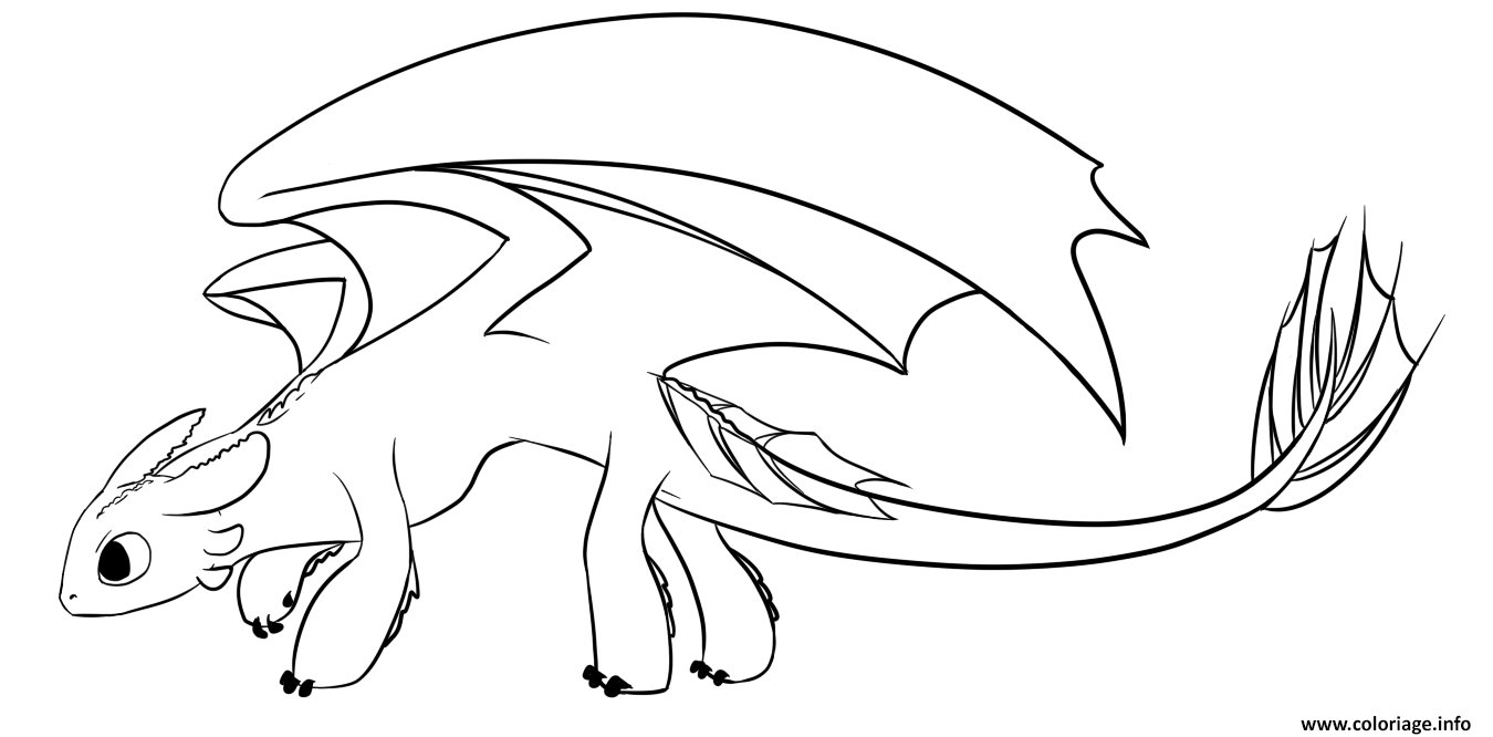 Dessin Toothless the only Night Fury Seen Coloriage Gratuit à Imprimer