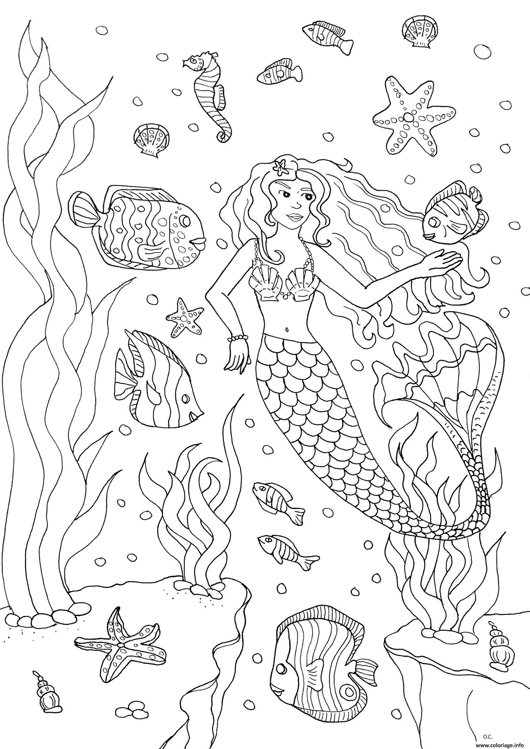Dessin adulte sirene et poissons Coloriage Gratuit à Imprimer