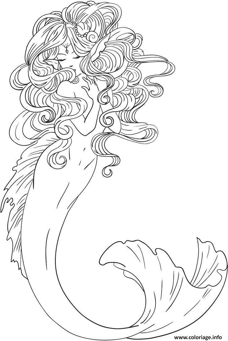 Dessin sirene de mer elegante Coloriage Gratuit à Imprimer
