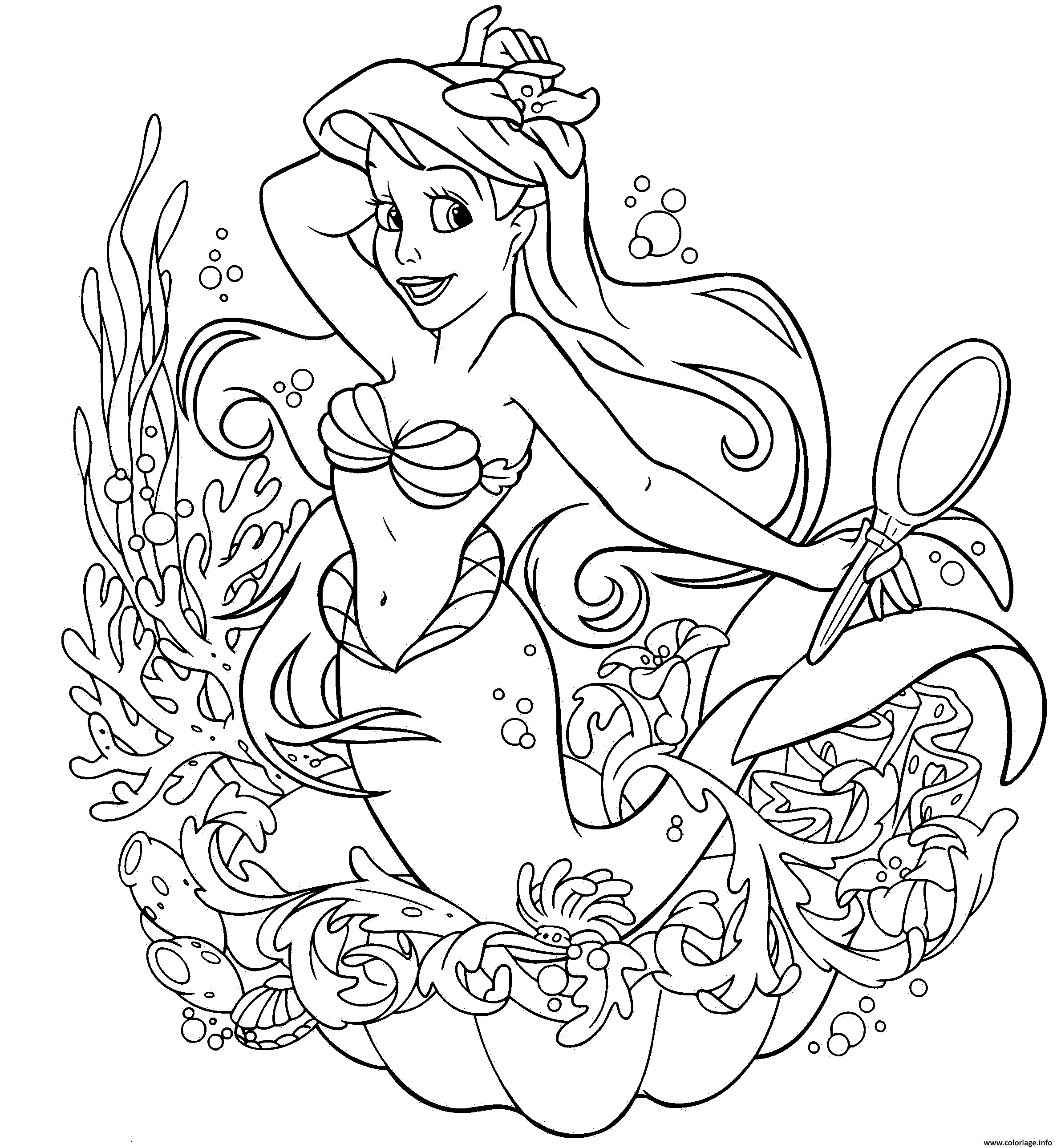 Coloriage Ariel La Petite Sirene Jecolorie Com