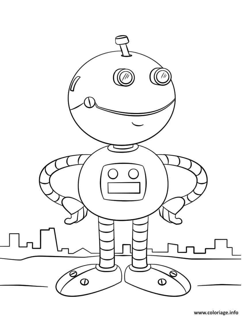 Coloriage Cute Cartoon Robot Par Lena London Dessin Robot A Imprimer