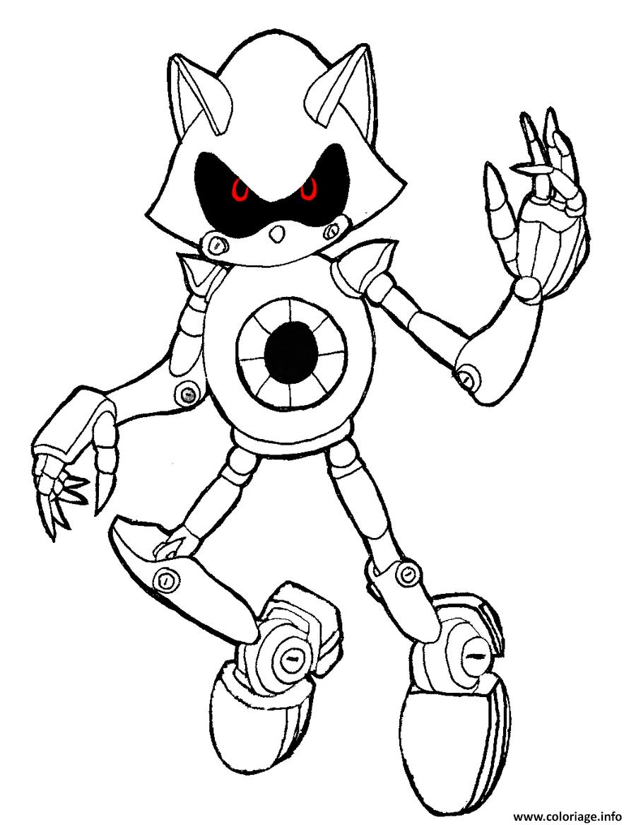 Dessin sonic robot avec les yeux rouge Coloriage Gratuit à Imprimer