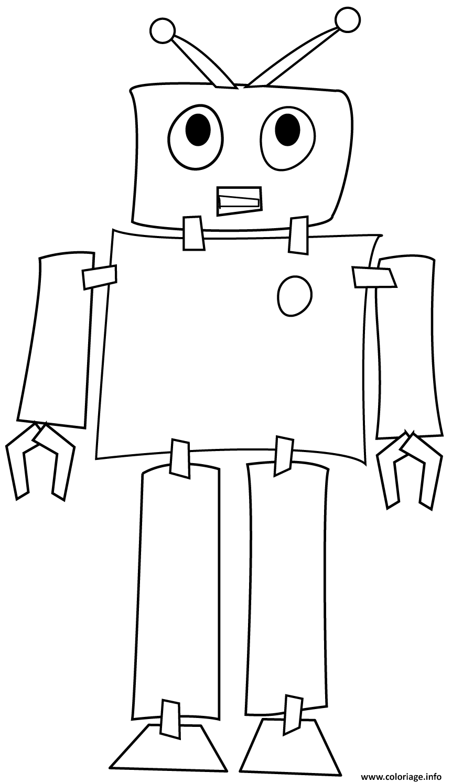 Coloriage Robot Machine Programme Par Un Ordinateur Jecolorie Com