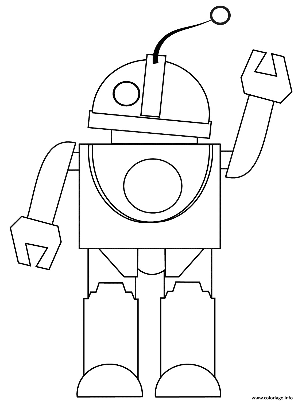 Coloriage Robot Te Dit Bonjour Jecolorie Com