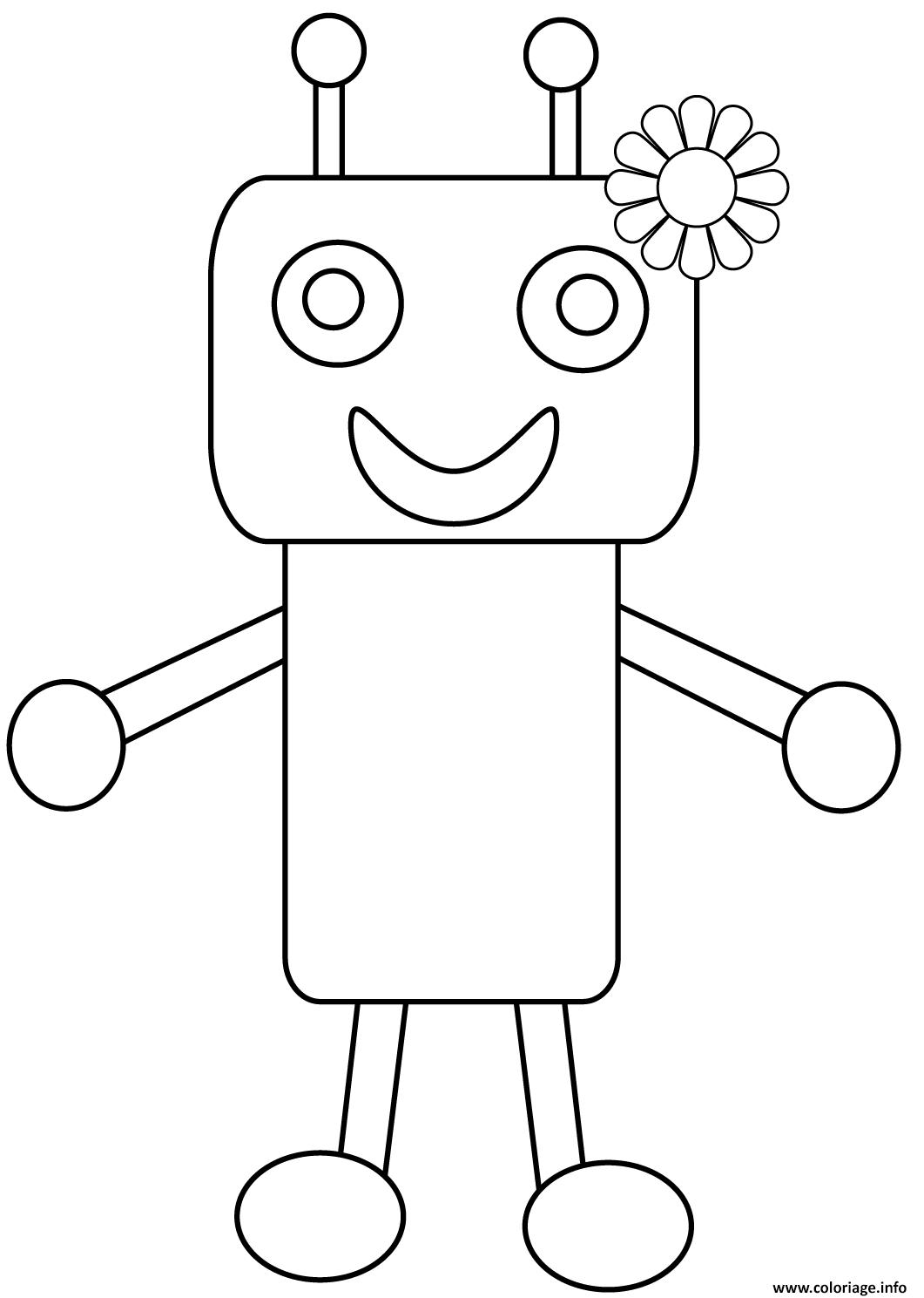 Dessin robot avec une fleur Coloriage Gratuit à Imprimer
