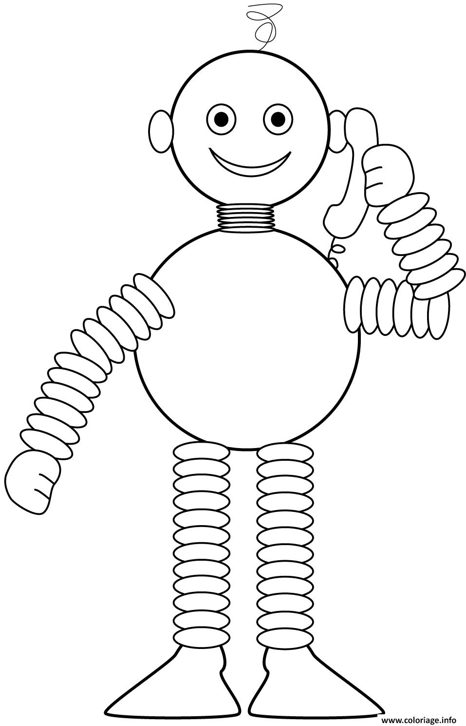 Coloriage Robot Parle Au Telephone Jecolorie Com
