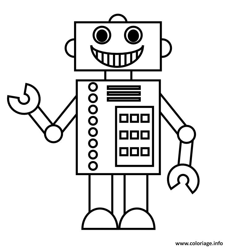 Coloriage Simple Robot Dessin