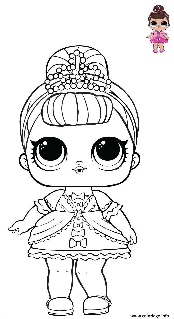 Dessin Princess LOL surprise pink dress Coloriage Gratuit à Imprimer