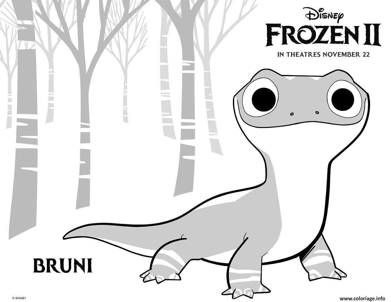 Coloriage Disney Frozen 2 Bruni Salamander Jecolorie Com