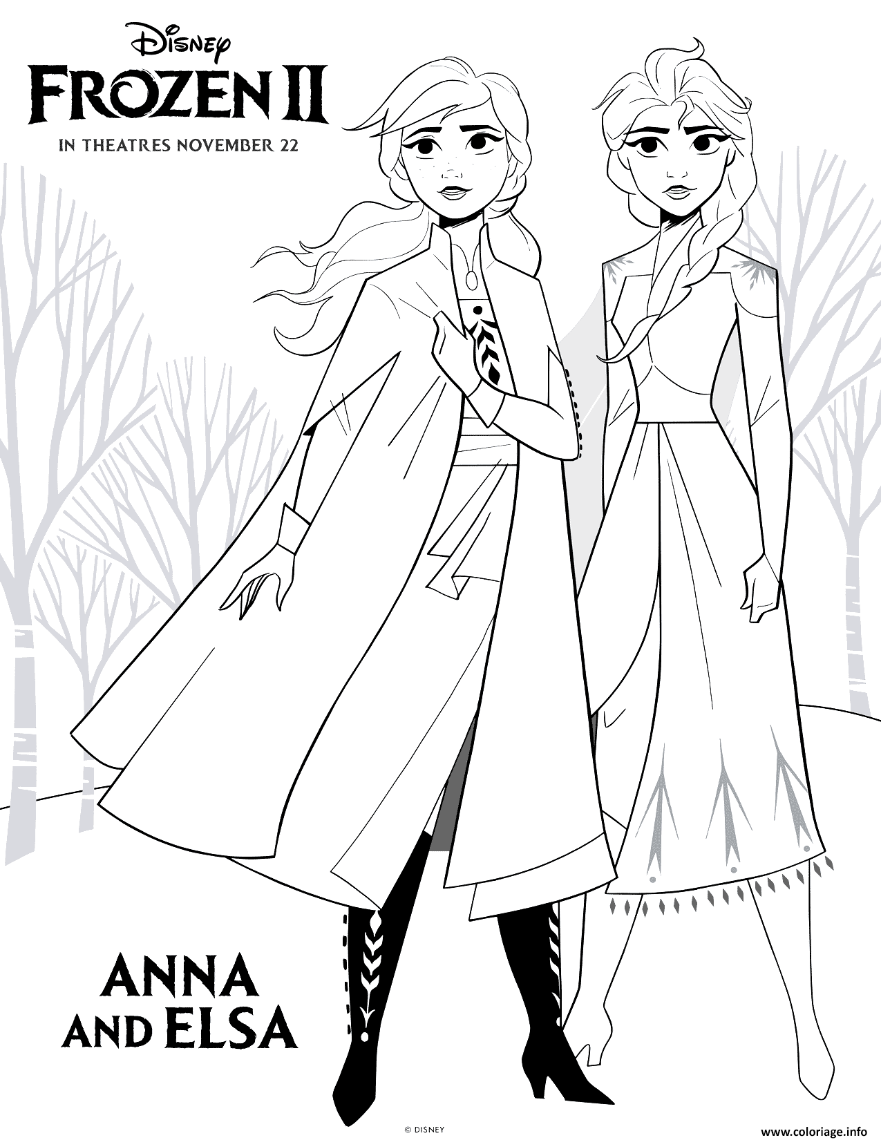Coloriage Frozen 2 Anna And Elsa Jecolorie Com
