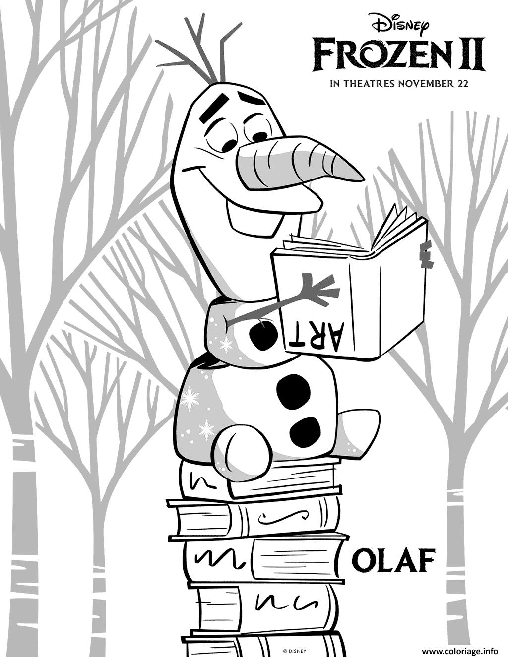 Coloriage Olaf Aime La Lecture Dans La Reine Des Neiges 2 De