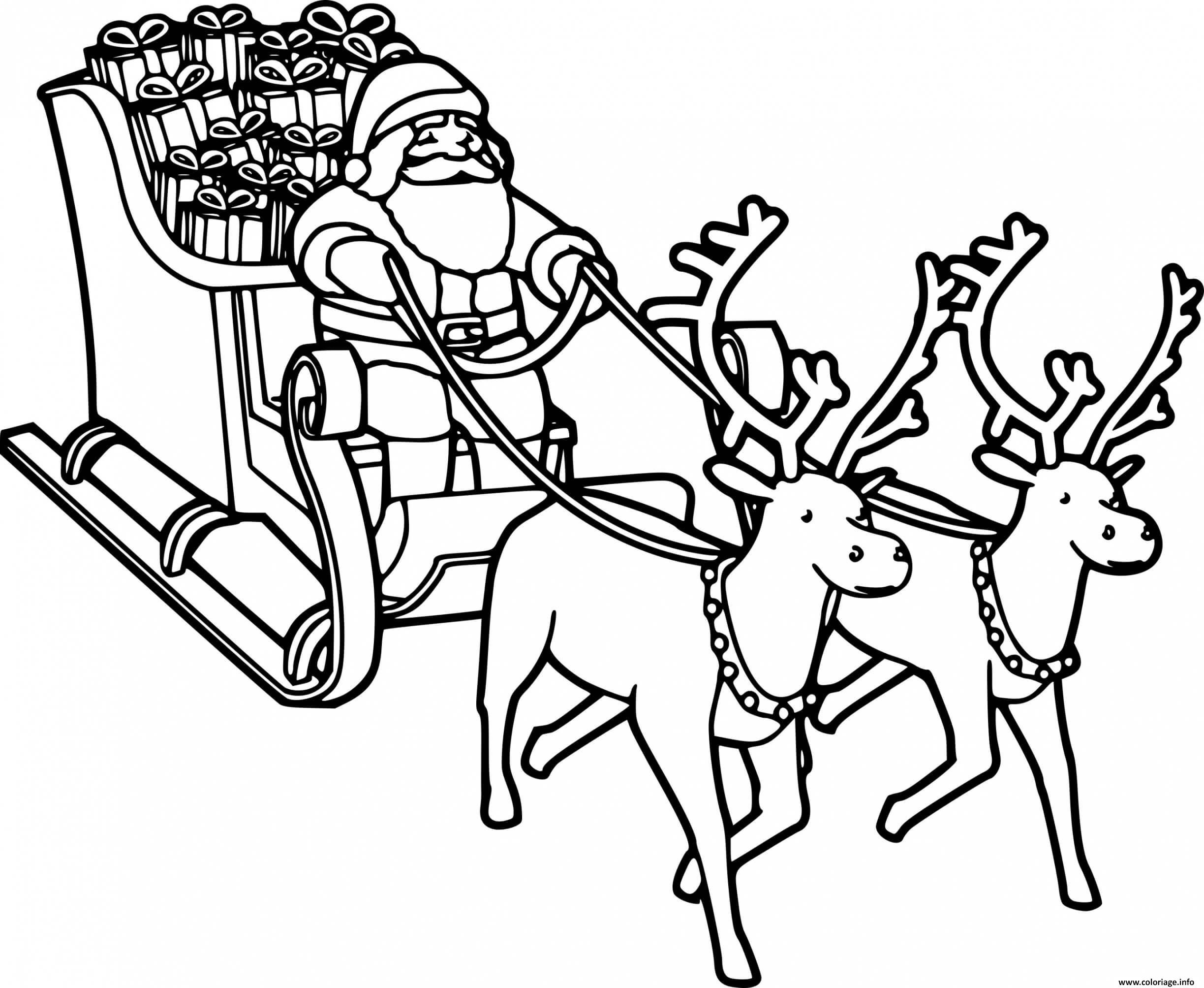 Coloriage pere noel avec traineau et ses rennes au nez rouge