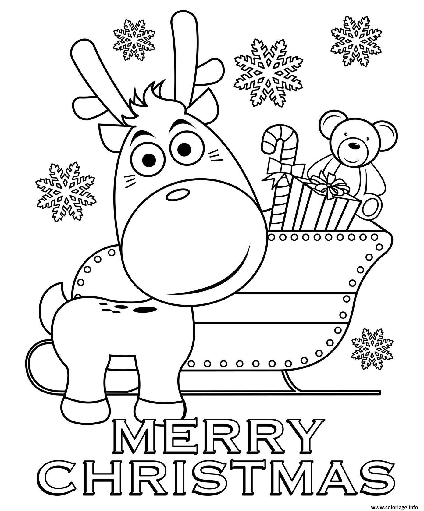 Dessin joyeux noel par le renne au nez rouge Coloriage Gratuit à Imprimer