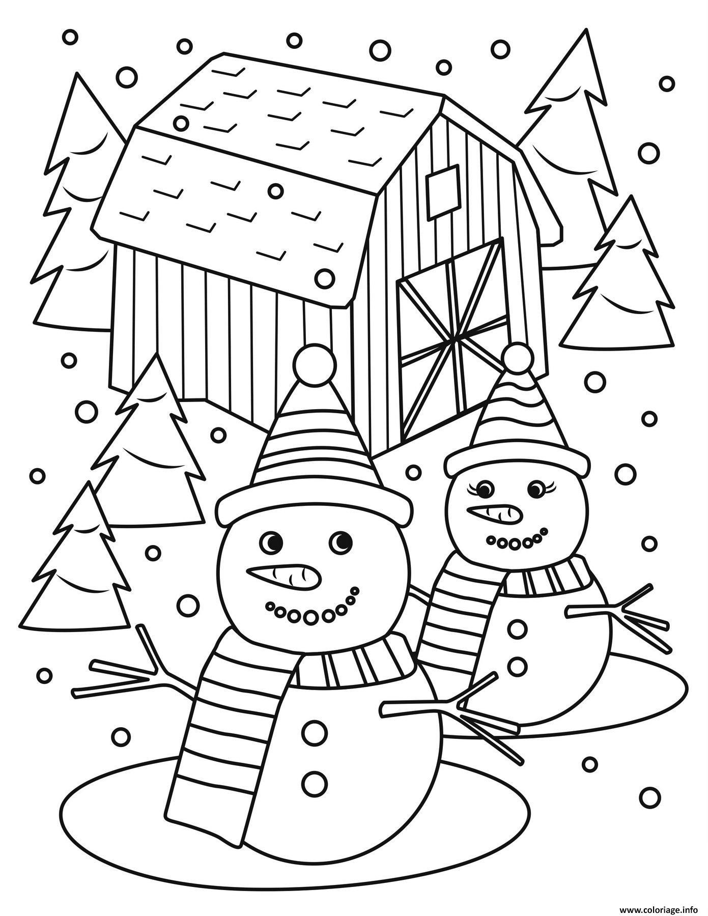 Dessin monsieur et madame bonhomme de neige Coloriage Gratuit à Imprimer