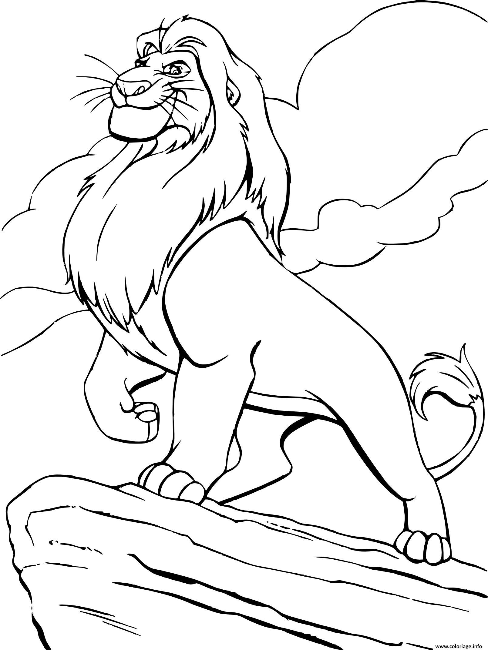Dessin mufasa du film le roi lion Coloriage Gratuit à Imprimer