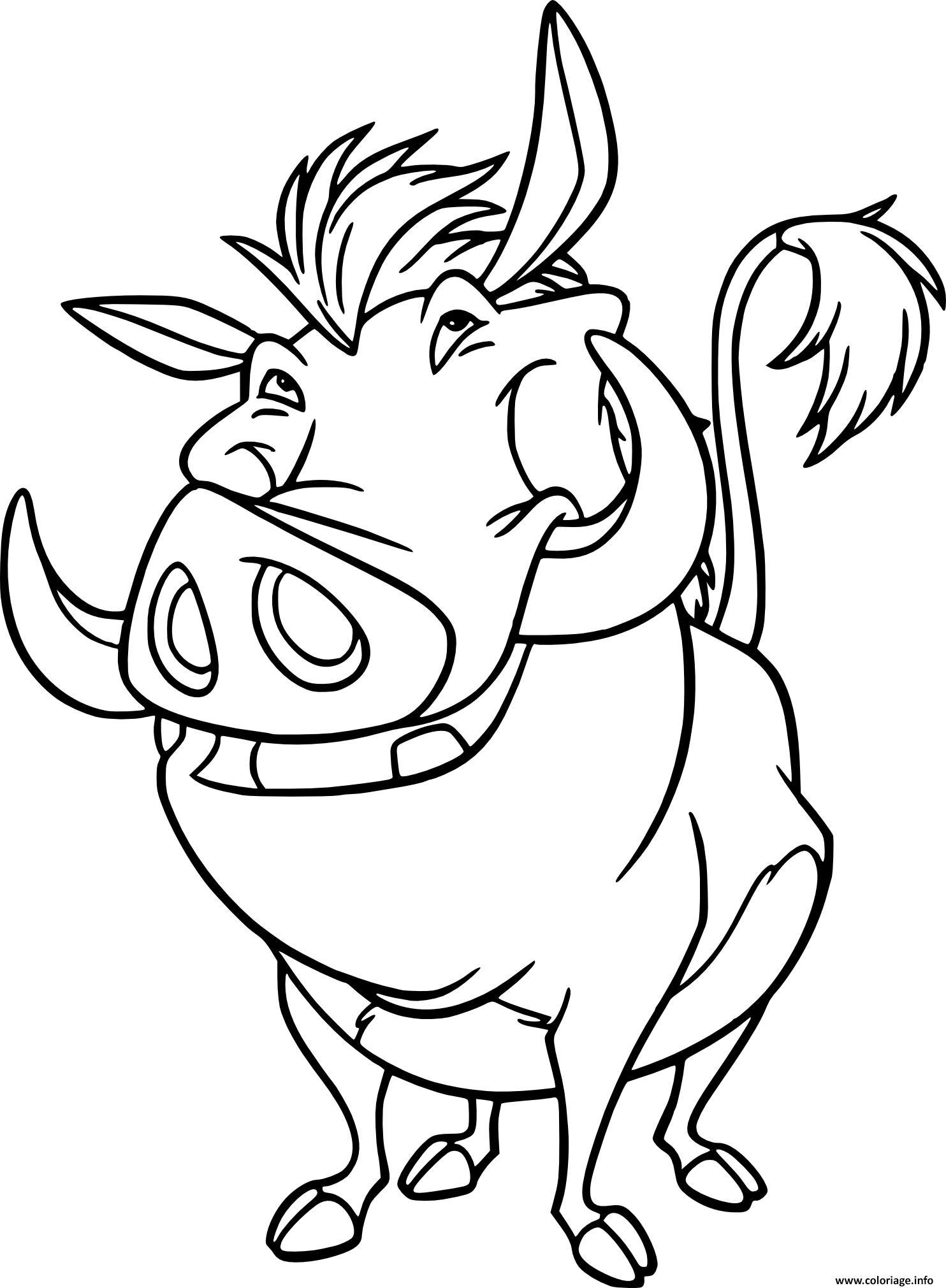 Dessin pumba un phacochere monsieur porc Coloriage Gratuit à Imprimer