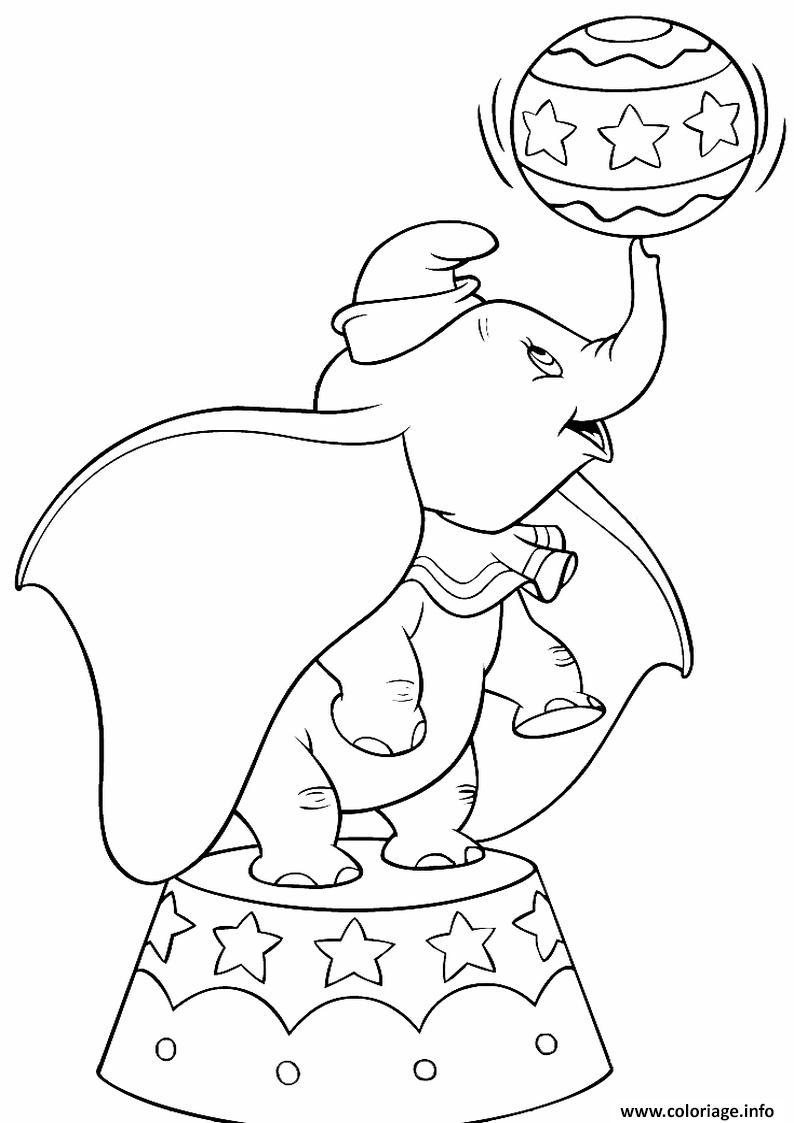 Dessin dumbo elephant au circle Coloriage Gratuit à Imprimer