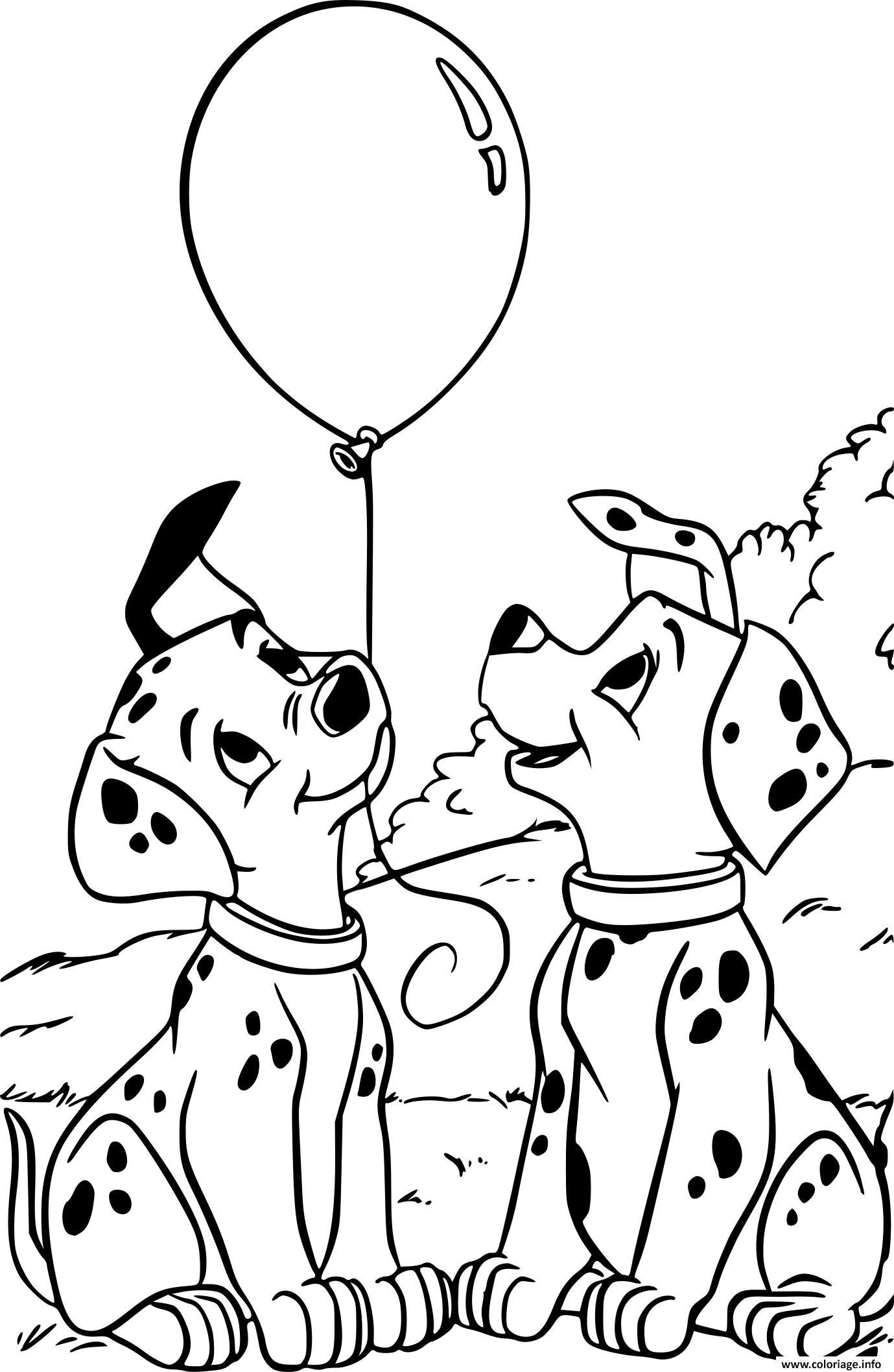 Dessin les 101 Dalmatiens Pongo et Perdita Coloriage Gratuit à Imprimer