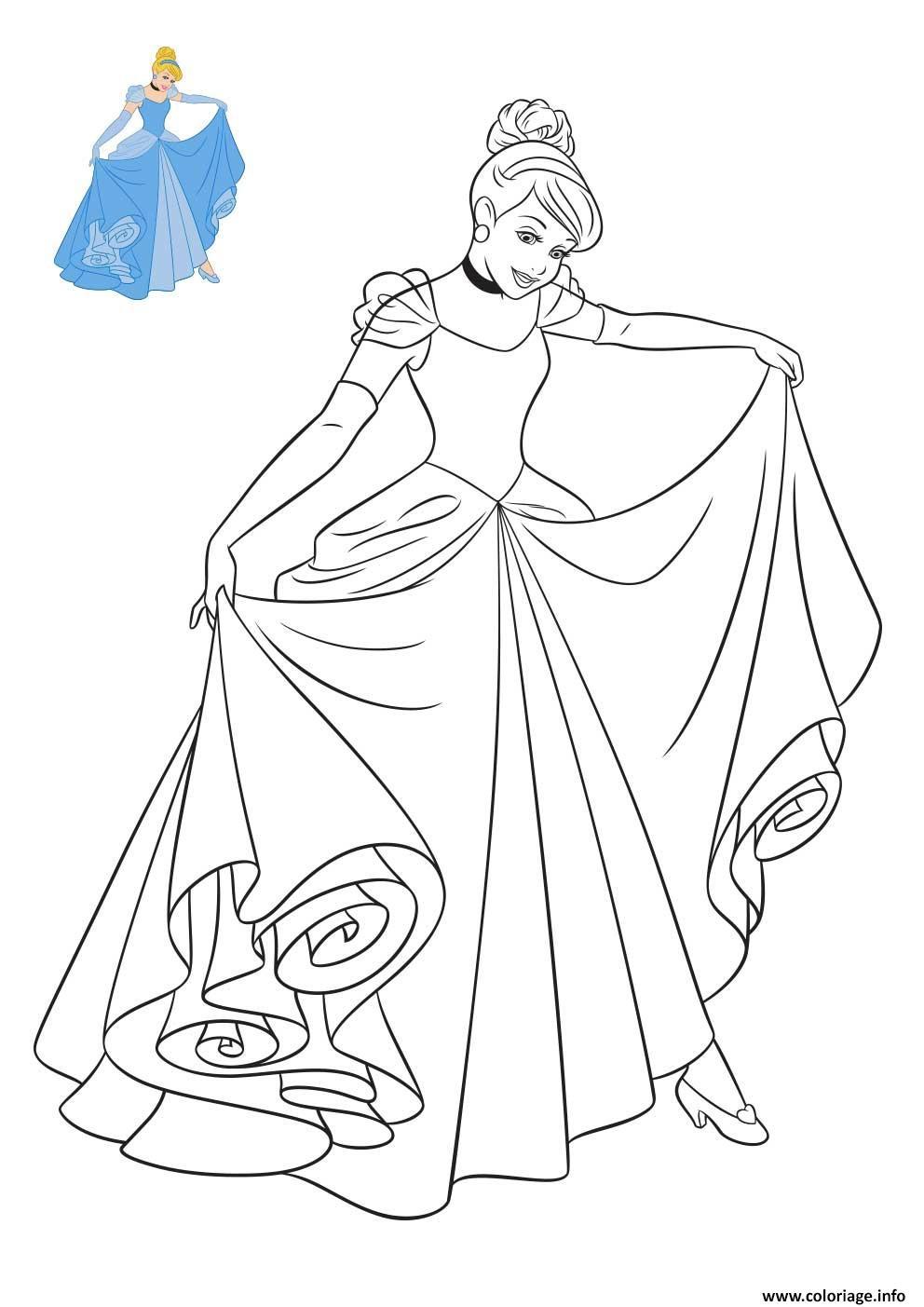 Coloriage Cendrillon Princesse Disney dessin