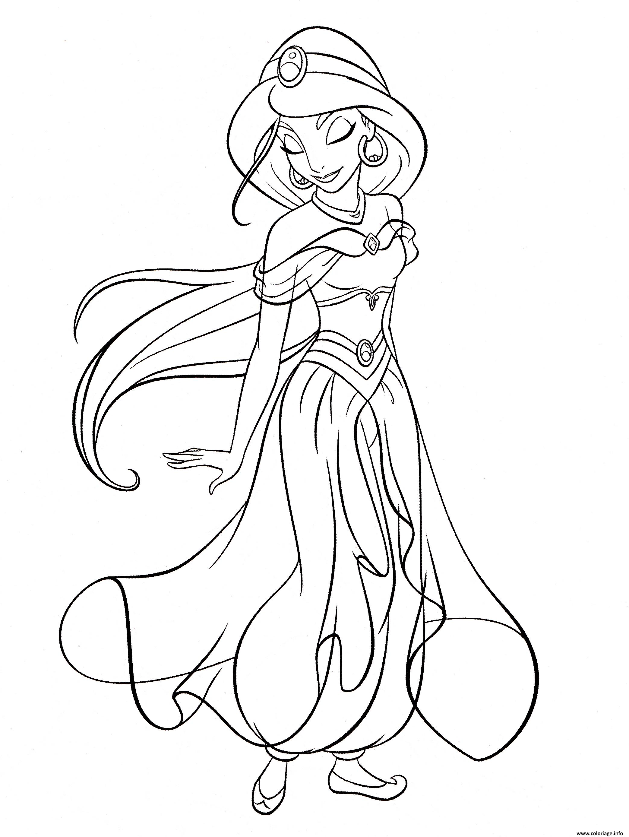 Dessin princesse jasmine du conte Aladin et la lampe merveilleuse des mille et une nuits Coloriage Gratuit à Imprimer